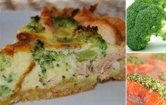 Pyragas su lašiša ir brokoliais mamos receptas
