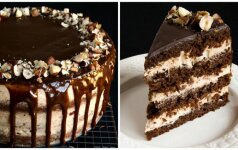 Šokoladinis karamelinis tortas su lazdyno riešutais