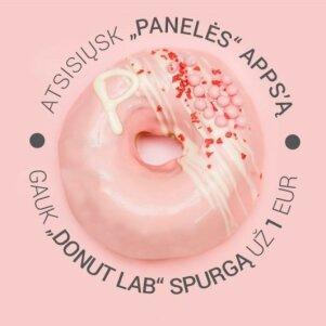 """Vasaros staigmena nuo """"PANELĖS"""" ir """"Donut LAB"""" - """"Panelės braškės"""" spurga"""