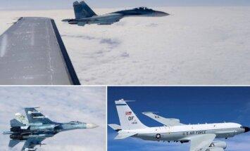 Iš kairės - rusų naikintuvas Su-27 ir JAV žvalgybos orlaivis RC-135