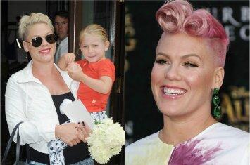 Dainininkės Pink penkiametė duktė raudonai nusidažė plaukus