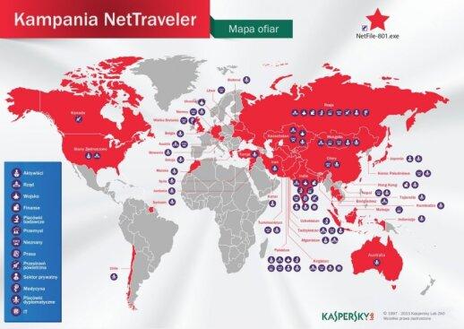 Mapa ofiar NetTraveler. Foto. Kaspesky Lab