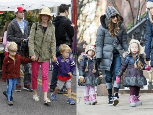 Julie Bowen su sūnumis ir Sarah Jessica Parker su dukromis