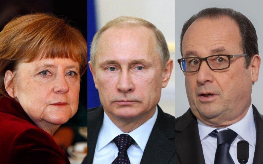 Angela Merkel, Vladimiras Putinas, Francois Hollande'as