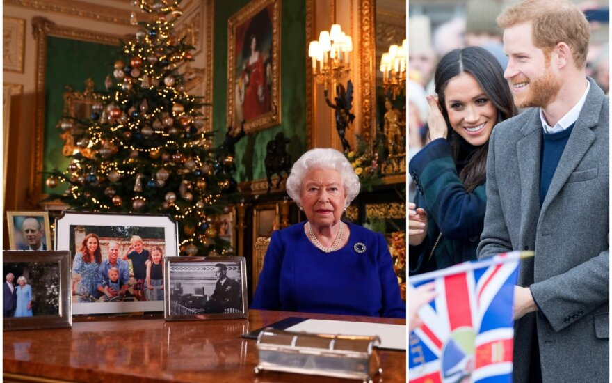 Karalienė Elžbieta, princas Harry ir Meghan Markle