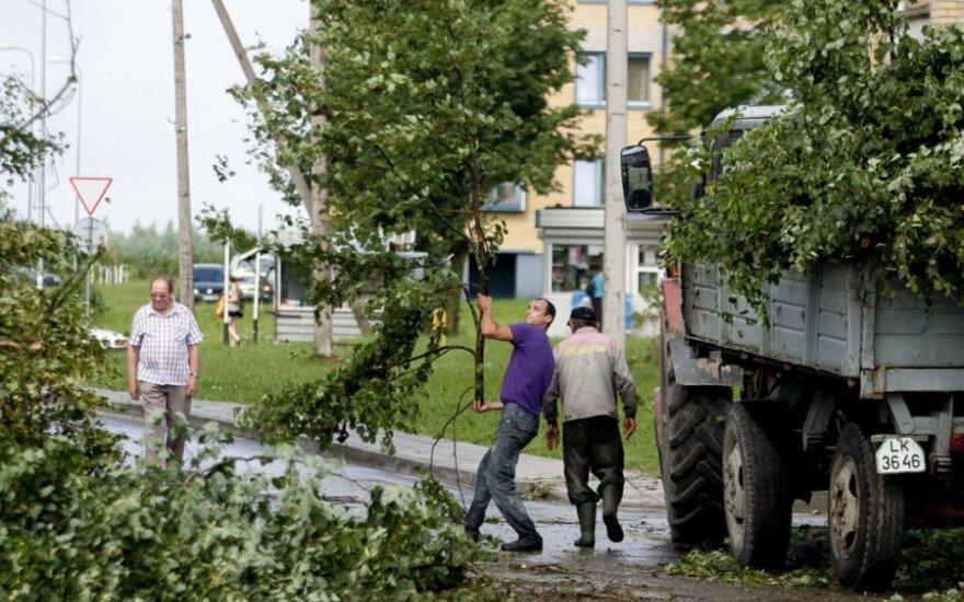 В понедельник утром в Шальчининкай бушевала буря