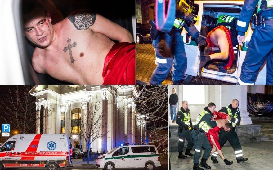 В Pramogų bankas задержан совершенно голый мужчина