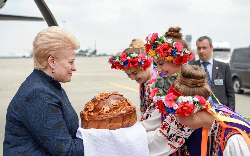Президент Литвы прибыла на восток Украины отметить вступление в силу безвизового режима