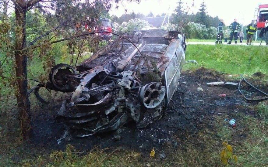 Renault снес столб, съехал с дороги, перевернулся и сгорел