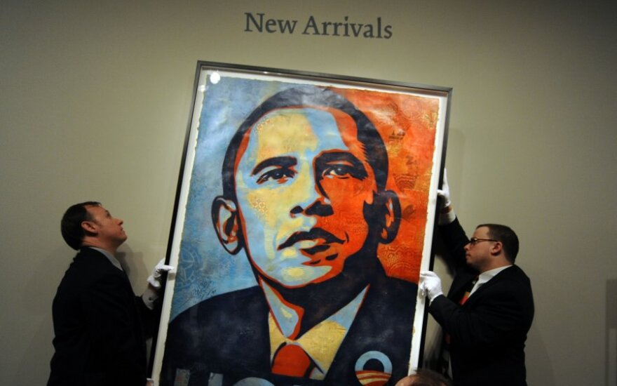 Shepardo Fairey kūrinys - Baracko Obamos portretas