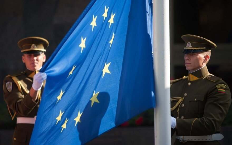 European Union flag raising ceremony in Vilnius