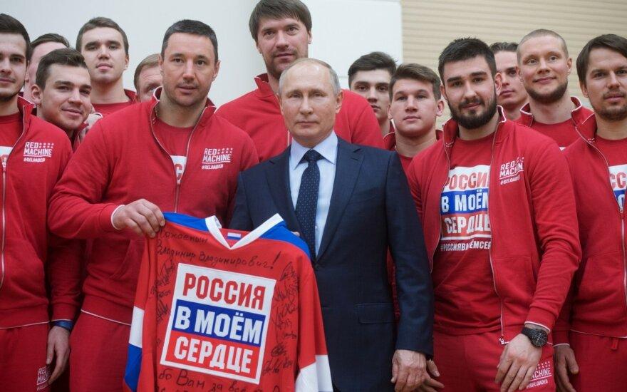 Rusijos prezidentas Vladimiras Putinas išlydi savo šalies atletus į žiemos olimpines žaidynes