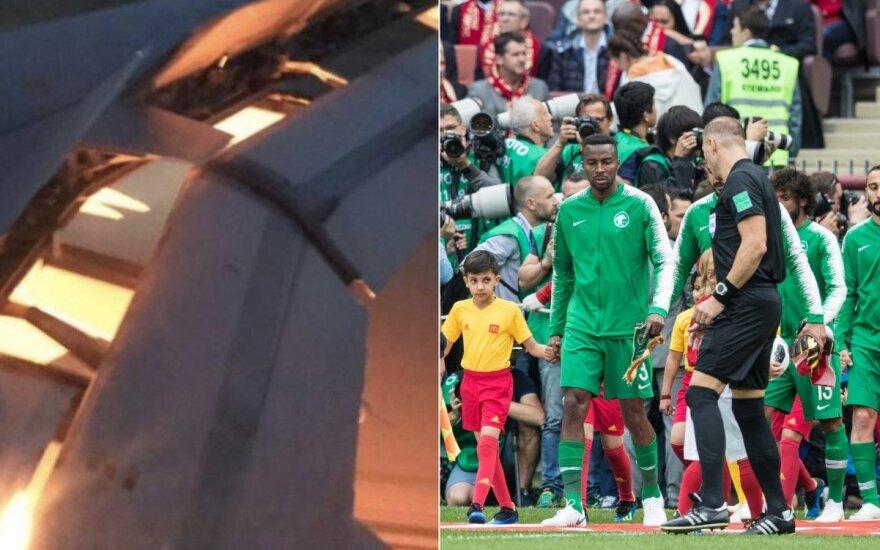 Saudo Arabijos rinktinę gabenusio lėktuvo variklis užsiliepsnojo ore