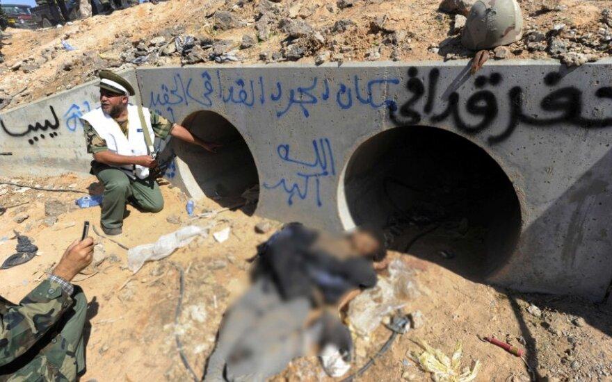 Vamzdis, kuriame slėpėsi Muammaras Gaddafi