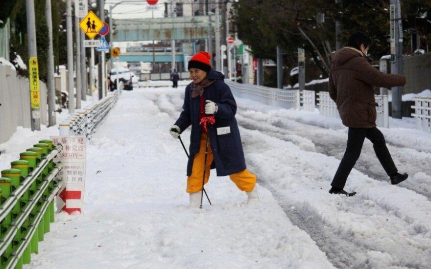 Japonijoje sniegas atnešė chaosą ir žmonių žūtis
