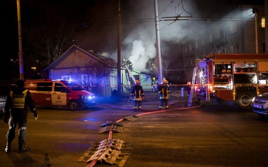 В Вильнюсе горел деревянный дом