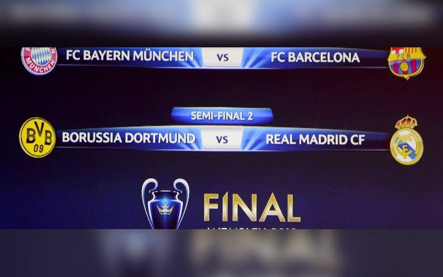 """UEFA Čempionų lygos pusfinalyje - """"Bayern"""" ir """"Barcelona"""" bei """"Borussia"""" ir """"Real"""" akistatos"""