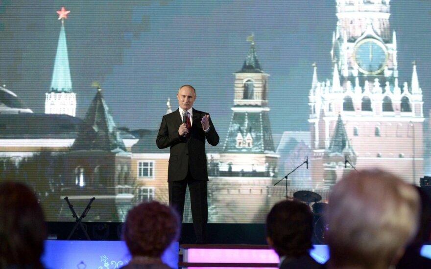 Rusijos prezidentas Vladimiras Putinas sako sveikinimo kalbą