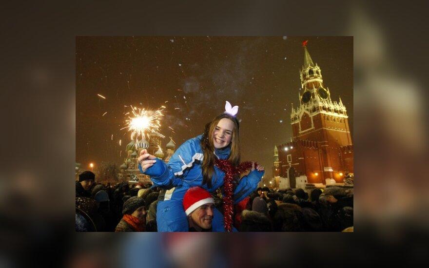 Москвичи отпраздновали Новый год на Красной площади