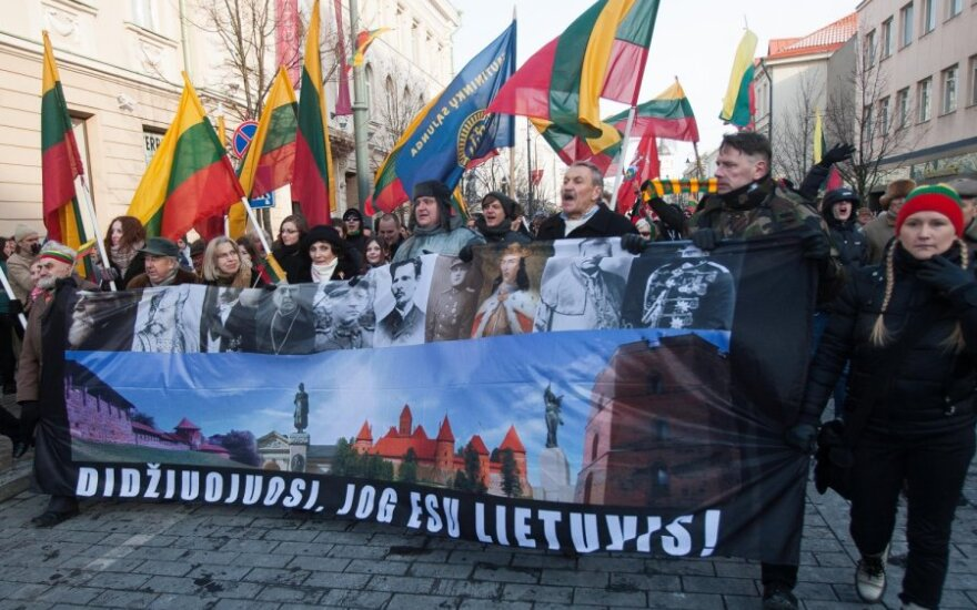 В Вильнюсе состоялось несанкционированное шествие националистов