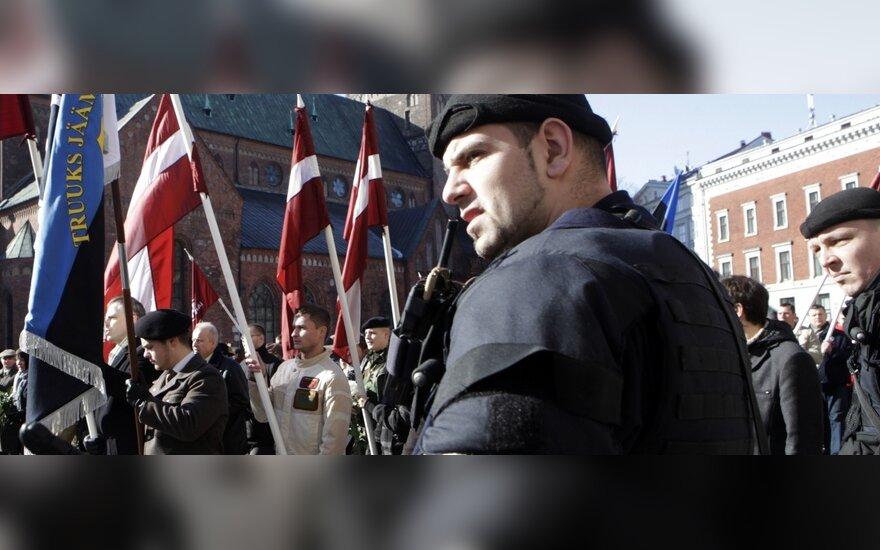 Antrojo pasaulinio karo metais SS legione tarnavusių veteranų eitynės Rygoje