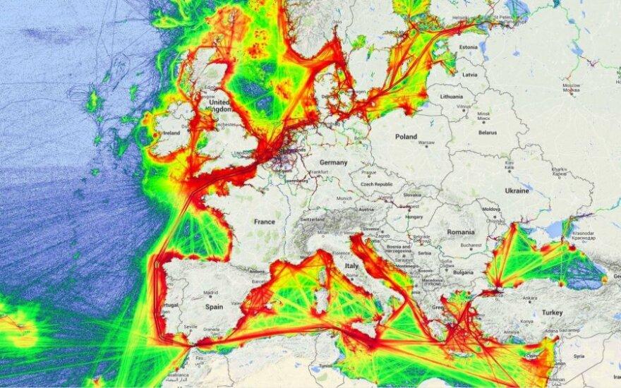 Mapa transportu morskiego w Europie