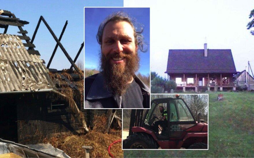 Linas Karalius tėvų sudegusiame name jau pradėjo atstatymo darbus