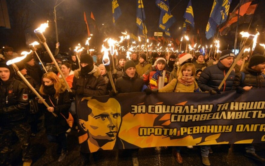 В Киеве прошли марши и факельное шествие в память Степана Бандеры