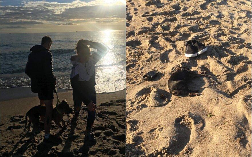 Paplūdimyje sudraskytas šuo