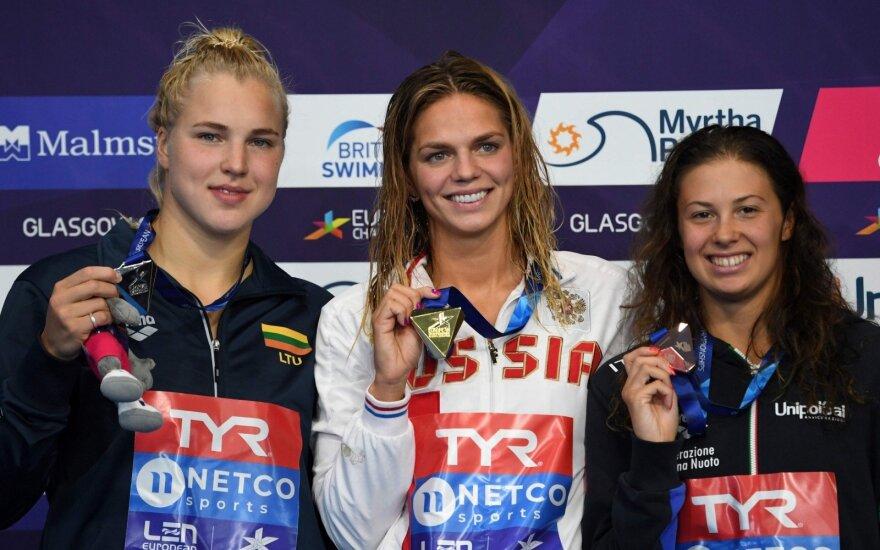 (iš kairės) Rūta Meilutytė, Julija Jefimova, Arianna Castiglioni