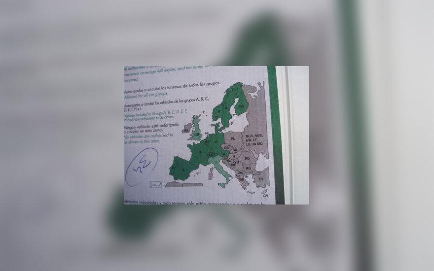 """""""Europcar"""" žemėlapis"""
