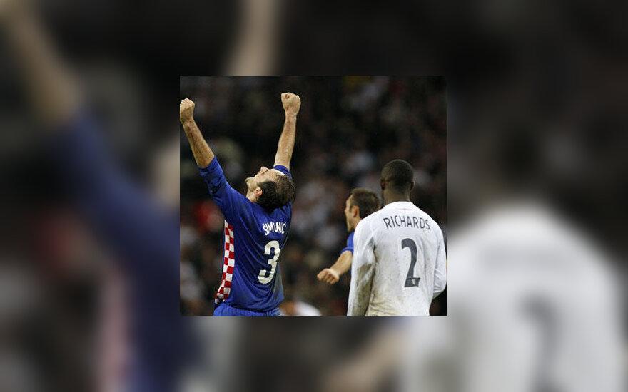 Kroatijos futbolininkai triumfuoja, anglai - neviltyje