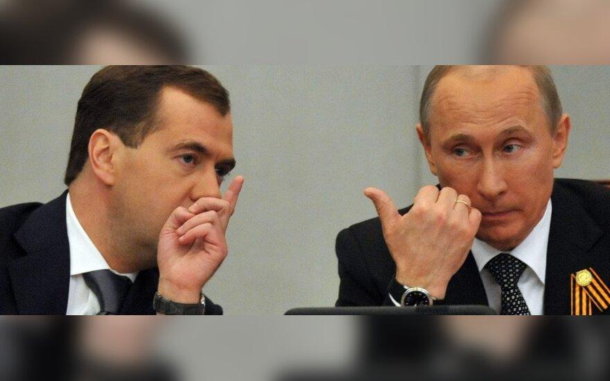 Dmitrijus Medvedevas ir Vladimiras Putinas