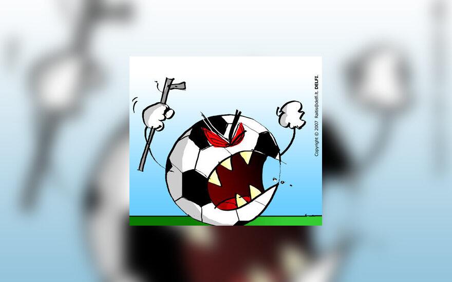 Futbolo chuliganai, sirgaliai, fanai -  karikatūra