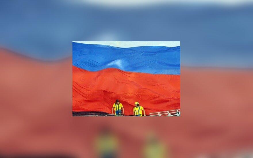 Švedijos futbolo gerbėjai prie Rusijos vėliavos