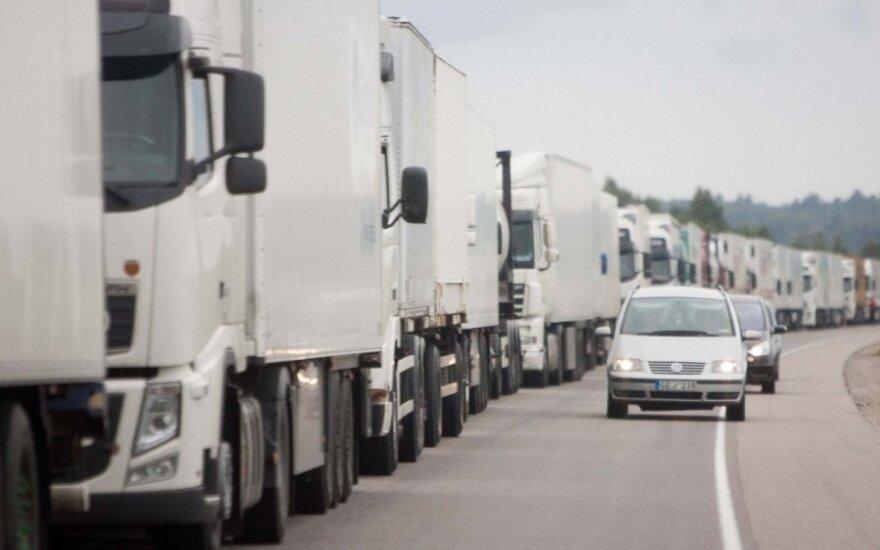 На границе Литвы и Беларуси – очереди грузовиков