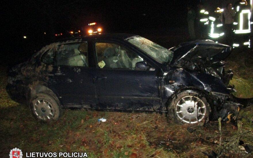В Шакяйском районе машина врезалась в дерево, пострадали 4 женщины