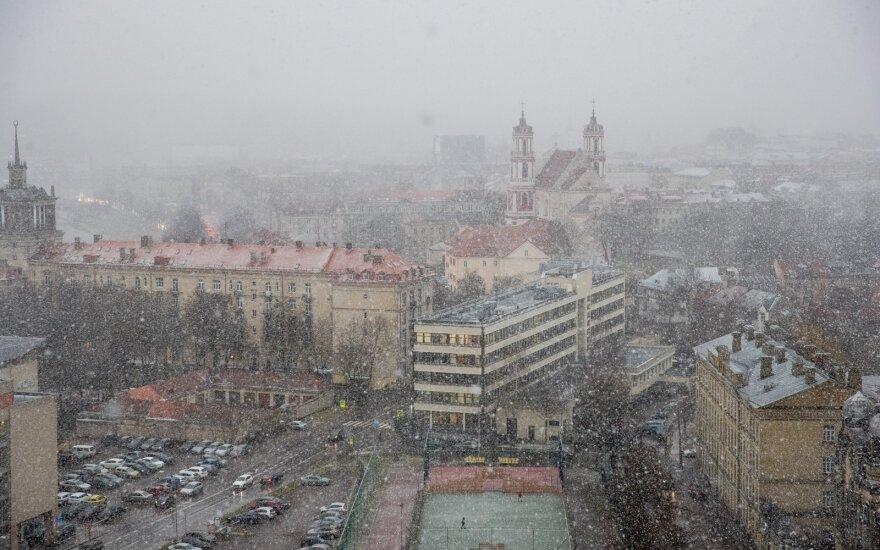 Зима не перестает удивлять: в Вильнюсе гремел гром, шел град и снег, а сейчас светит солнце