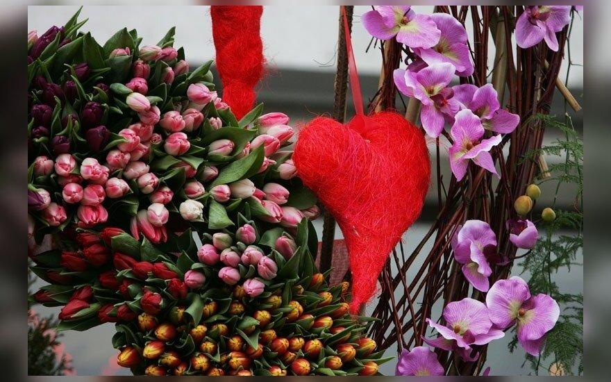 Gėlių širdis Šv. Valentino dienos progą.