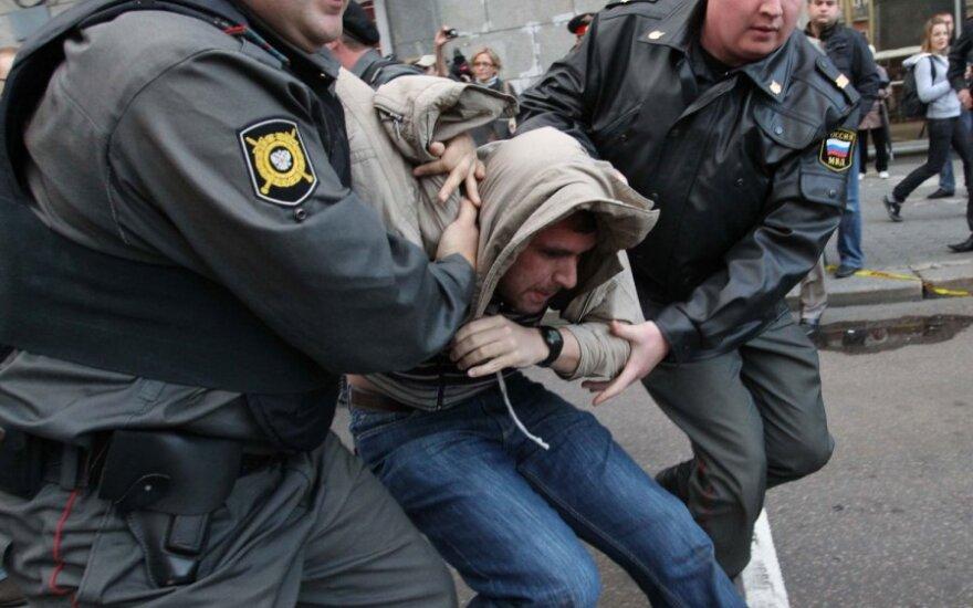 """Maskvoje sulaikyti daugiau kaip 30 akcijos """"Rūstybės diena"""" dalyvių"""