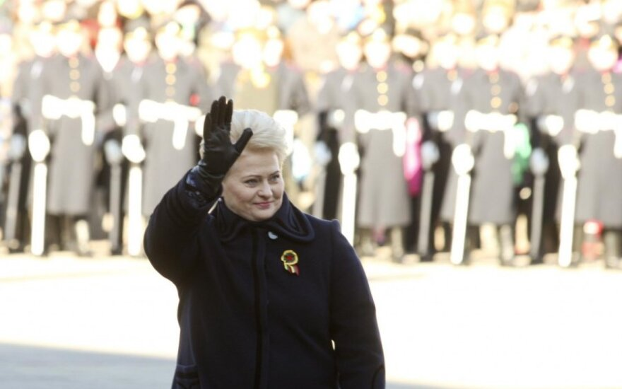 President Dalia Grybauskaitė during the raising of the three Baltic states flags on the Daukantas' square in Vilnius during the February 16 celebrations