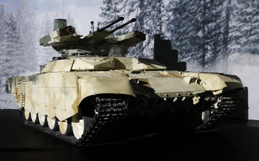 """Pėstininkų kovos mašina BMPT-72,  vadinama """"Terminator-2"""""""