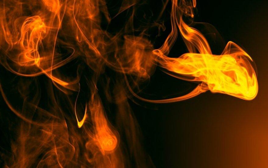 В понедельник вечером в Пабраде горела лесопилка