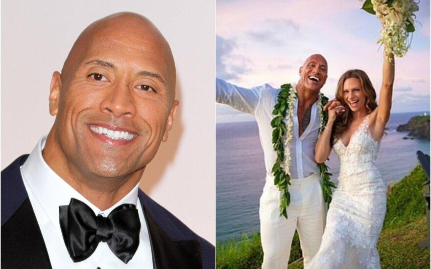"""""""Uola"""" vadinamas aktorius Dwayne Johnson vedė ilgametę mylimąją"""