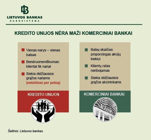 1 pav. Kredito unijos nėra maži komerciniai bankai