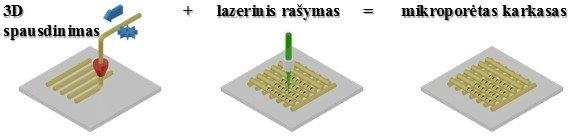 1 pav. Trimačių mikroporėtų karkasų formavimo etapai: 3D spausdinimas ir lazerinis modifikavimas.