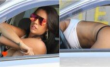 Brazilų pornožvaigždė užklupta persirenginėjanti automobilyje