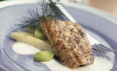 Žuvies filė su šparagais ir baltuoju padažu