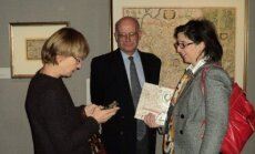 Anne-Marie Goussard, right, at an exhibition of Lithuanian maps in Paris