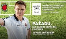Lietuvos vyrų futbolo rinktinės marškinėlių pristatymo plakatas.